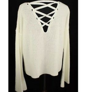 Topshop Bell Sleeve sweater with lace up back